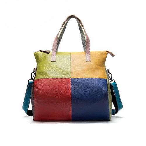 Leather Leather Shopper Bag In Patchwork Style