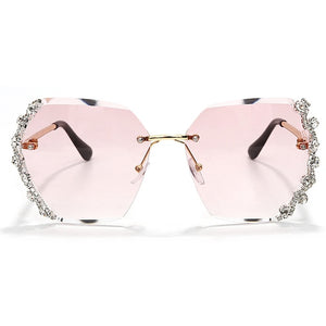 Rhinestone Rimless Sunglasses With Diamonds,Anti-Reflective - GiftWorldStyle - Luxury Jewelry and Accessories