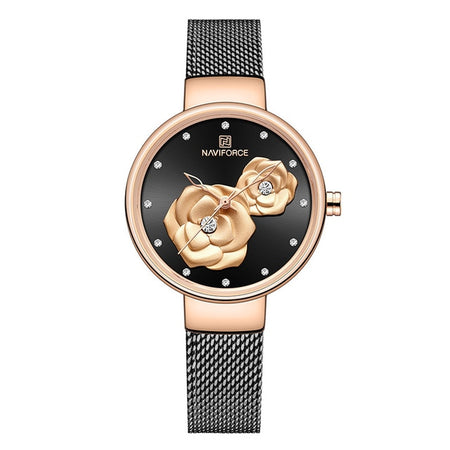 Women's Crystal-Flower Mesh Strap Watch