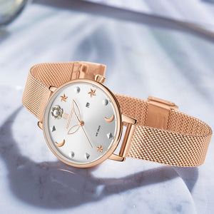 Women's Star-Moon Mesh Bracelet Watch
