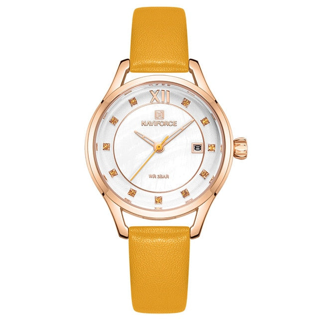 Women's Crystal Leather Strap Watch - GiftWorldStyle - Luxury Jewelry and Accessories