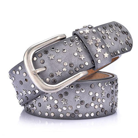 Wide Belt With Star and Sequins Metal Buckle
