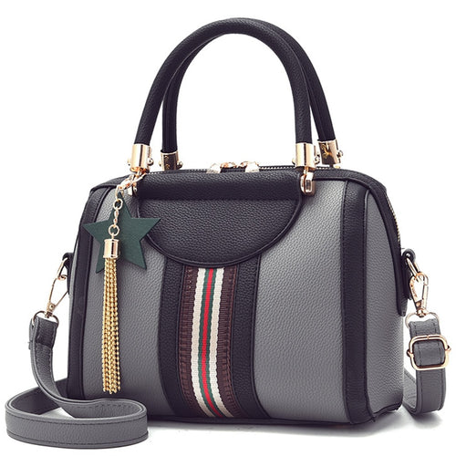 Women's Handbag With Patchwork Stripe And Tassel - GiftWorldStyle - Luxury Jewelry and Accessories