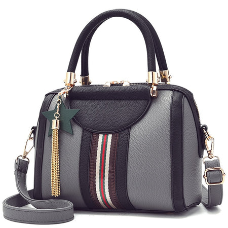 Women's Handbag With Patchwork Stripe And Tassel