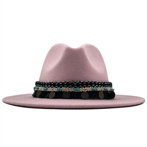 Wool Vintage Fedora Hat With Chain and Coin - GiftWorldStyle - Luxury Jewelry and Accessories