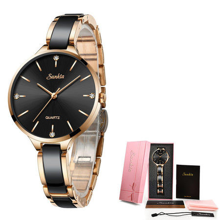 Women's Fashion Two-Tone Stainless Steel Bracelet Watch