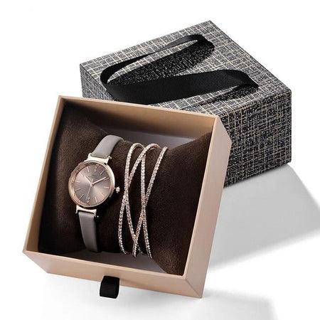 Women's Crystal Bangle Bracelet and Leather Strap Watch Set