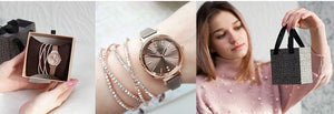 Women's Crystal Bangle Bracelet and Leather Strap Watch Set - GiftWorldStyle - Luxury Jewelry and Accessories