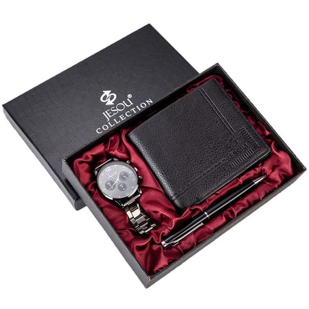 Men's Chronograph Watch, Leather Wallet and Ballpoint Pen Set