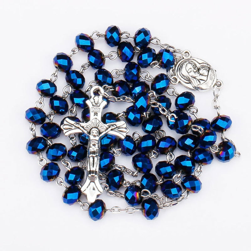 Crystal Beads Catholic Rosary With Virgin Holy Land