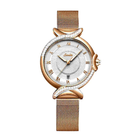Women's Irregular Crystal Mesh Bracelet Watch