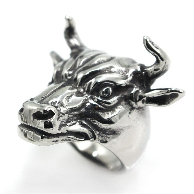 Men's Vintage Gothic 316L Stainless Steel Bull Head Ring - GiftWorldStyle - Luxury Jewelry and Accessories