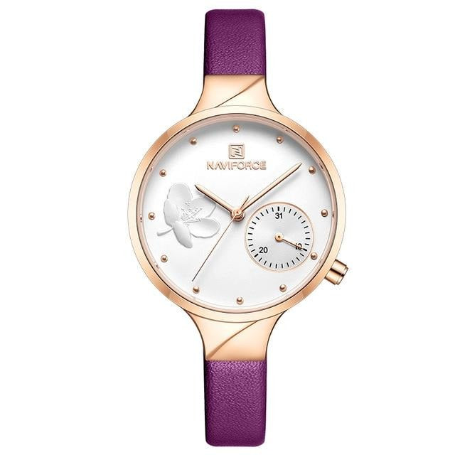 Women's Flower Leather Strap Watch - GiftWorldStyle - Luxury Jewelry and Accessories