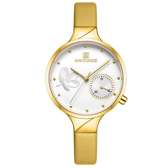 Women's Flower Leather Strap Watch