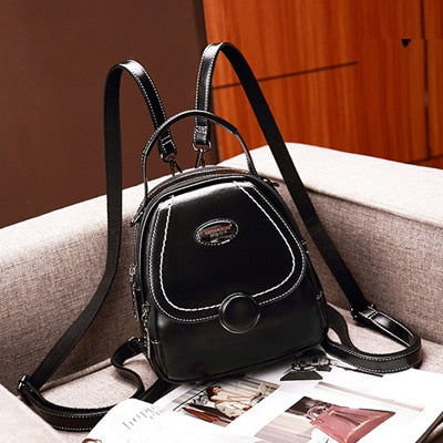 Small Soft Leather Backpack With Covered Pocket, Soft Handle - GiftWorldStyle - Luxury Jewelry and Accessories