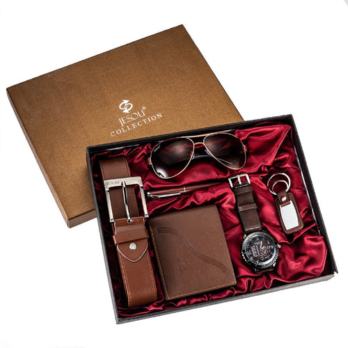 Men's Leather Wallet, Aviator Sunglasses, Belt, Keychain, Pen and Watch Set