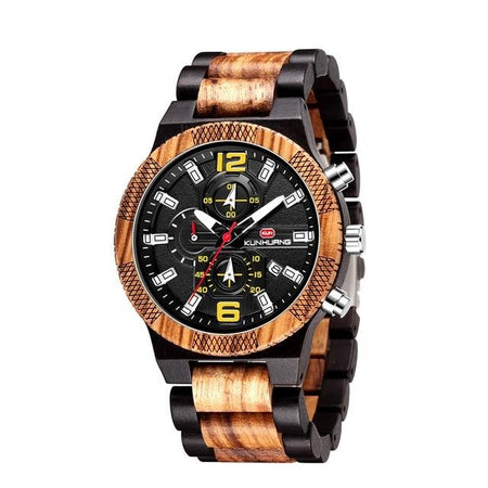 Wooden Watch Multifunction Chronograph With Big Dial - GiftWorldStyle - Luxury Jewelry and Accessories