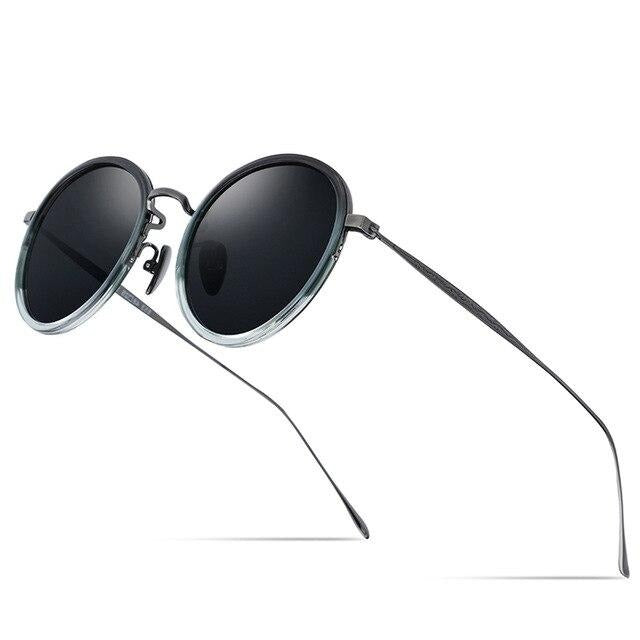 Titanium Polarized Sunglasses In Round Mirrored,UV400 - GiftWorldStyle - Luxury Jewelry and Accessories