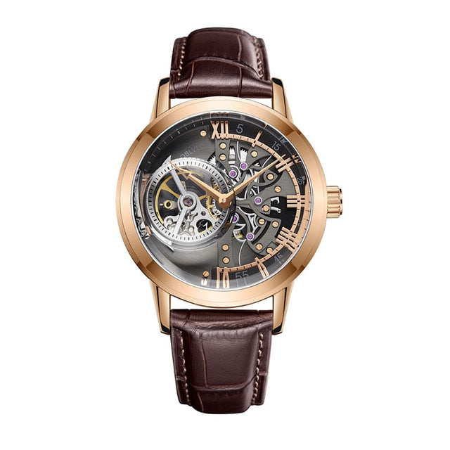 Automatic Watch With Skeleton Dial And Calfskin Leather, 5Bar - GiftWorldStyle - Luxury Jewelry and Accessories