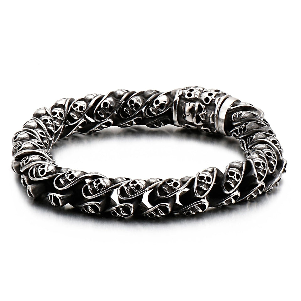 Vintage Skull Engraved Bracelet - Stainless Steel - GiftWorldStyle - Luxury Jewelry and Accessories