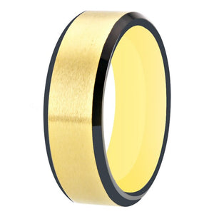 Unisex Matte Two-Tone Tungsten Carbide Ring - GiftWorldStyle - Luxury Jewelry and Accessories