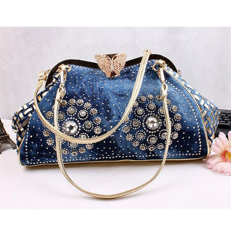 Shoulder Bag Denim With Colroful Rhinestones Decorative - GiftWorldStyle - Luxury Jewelry and Accessories