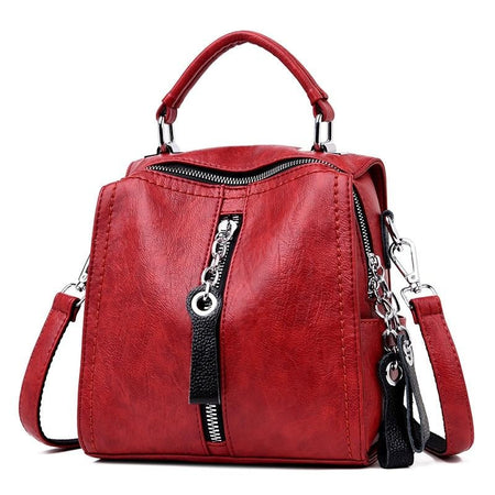 Luxury  Leather Handbag for Women With Big Zipper, Phone Pocket