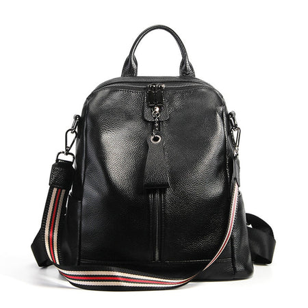 Leather Backpack With Genuine Leather And Colorful Arcuate Shoulder Strap