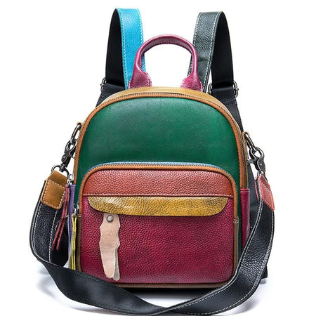 Small Women's Backpack From Patchwork Genuine Leather