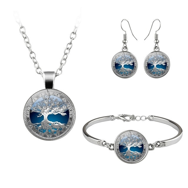 Tree Of Life Butterfly Jewelry Set - Necklace, Bracelet & Earrings - GiftWorldStyle - Luxury Jewelry and Accessories