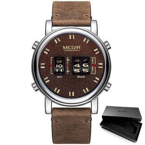 Quartz Watches For Men With Water Resistant Leather Strap, Hardlex - GiftWorldStyle - Luxury Jewelry and Accessories
