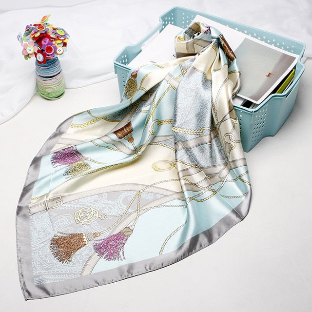 Silk Satin Hair Scarf For Women With Floral Print And Fine Floral - GiftWorldStyle - Luxury Jewelry and Accessories