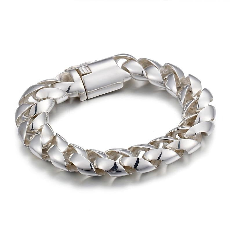 925 Sterling Silver Cuban Chain Bracelet - GiftWorldStyle - Luxury Jewelry and Accessories