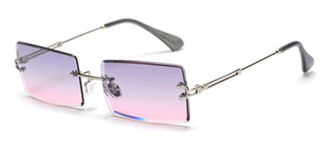 Small Rectangle Rimless Sunglasses,uv400 In Square Shape - GiftWorldStyle - Luxury Jewelry and Accessories