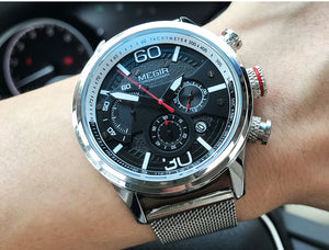 Quartz Waterproof Watch With Mesh Strap, Luminous Hands And Chronograph - GiftWorldStyle - Luxury Jewelry and Accessories