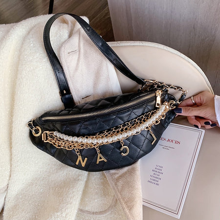 Women's Chain Waist Bag With Plaid,Letters - GiftWorldStyle - Luxury Jewelry and Accessories