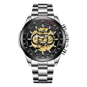 Automatic Silver Stainless Steel Watch - Luminous Hands - GiftWorldStyle - Luxury Jewelry and Accessories