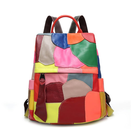 Colorful Patchwork Backpack From Sheepskin Leather