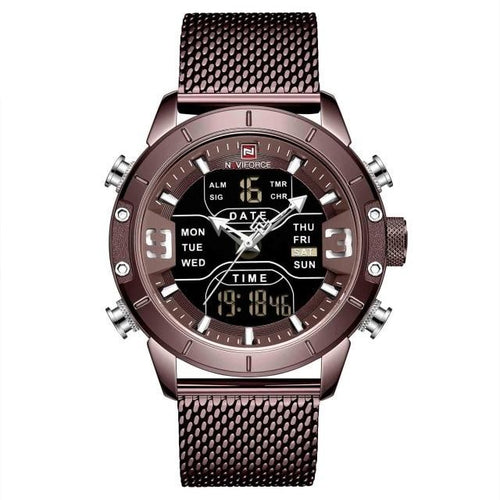 Men's Quartz LED Digital Watch With Chronograph, Auto Date And Alarm - GiftWorldStyle - Luxury Jewelry and Accessories