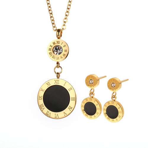 Black Round Roman Numeral Jewelry Sets