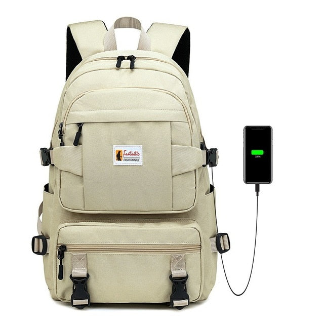 Yellow Backpack For School With Phone Charger - GiftWorldStyle - Luxury Jewelry and Accessories