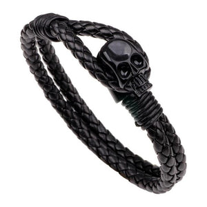 Genuine Leather Weave Bracelet With Skull - GiftWorldStyle - Luxury Jewelry and Accessories