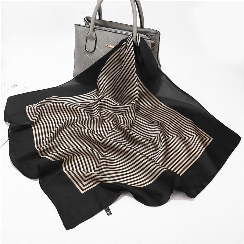 Small Women Scarf With Striped Print From Silk Satin,Neck Scarves - GiftWorldStyle - Luxury Jewelry and Accessories