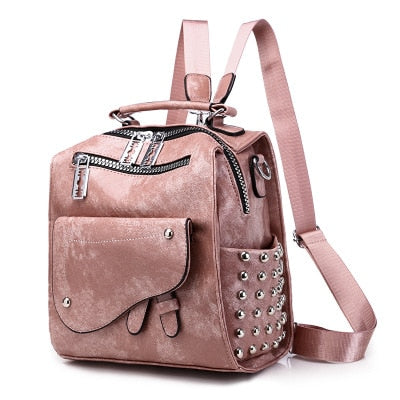 Leather Rivet Backpacks For Women With Big Zipper And Eyelets, Rivet