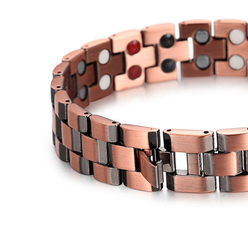 Copper Magnetic Bracelet With Negative Ions And Link Chain
