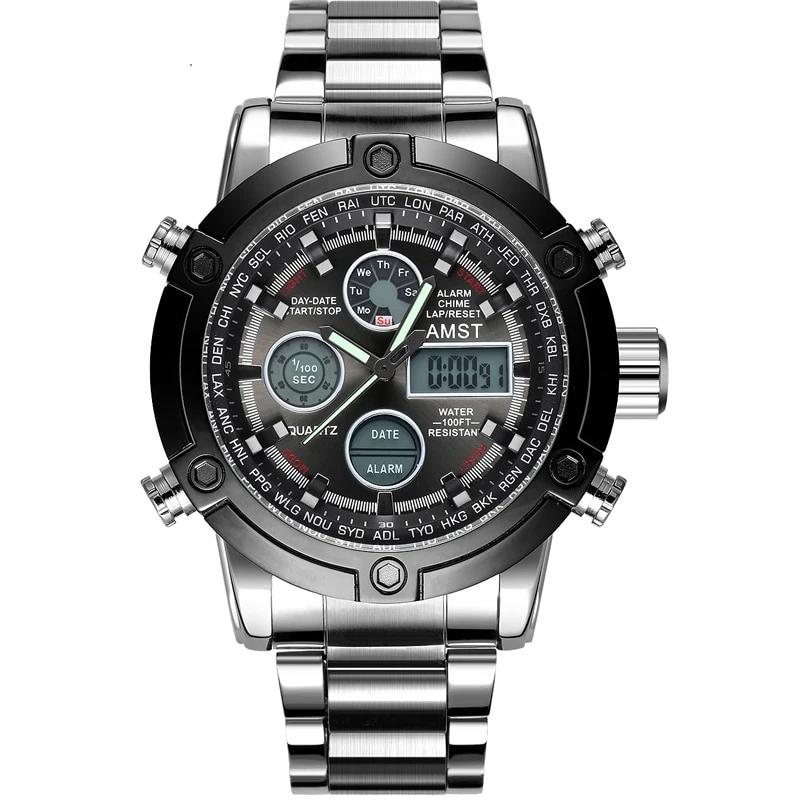 Digital Analog Quartz Watch With 50m Dive LED Dial, Shock Resistant - GiftWorldStyle - Luxury Jewelry and Accessories