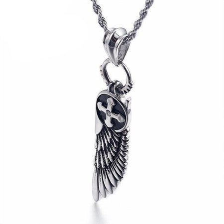 Feather Cross Charm Necklace - GiftWorldStyle - Luxury Jewelry and Accessories