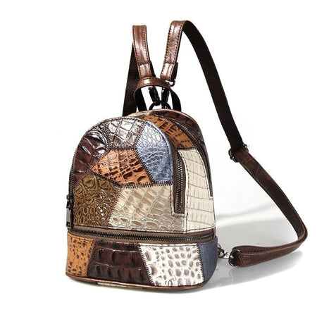 Women's Patchwork Multicolor Shoulder Bags From Genuine Leather