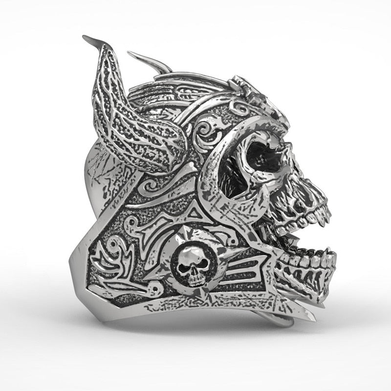 Punk Gothic Ring With Skull Templar Knight