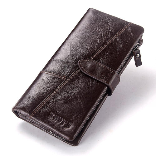 Long Lady Leather Wallet with Clamp for Money